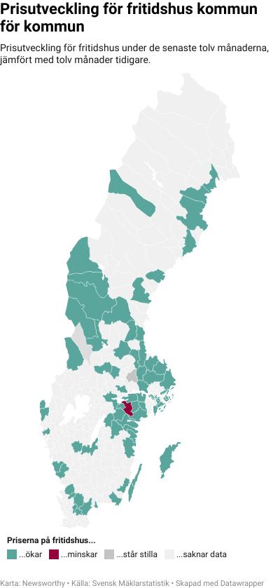 Karta: Prisutveckling för fritidshus kommun för kommun