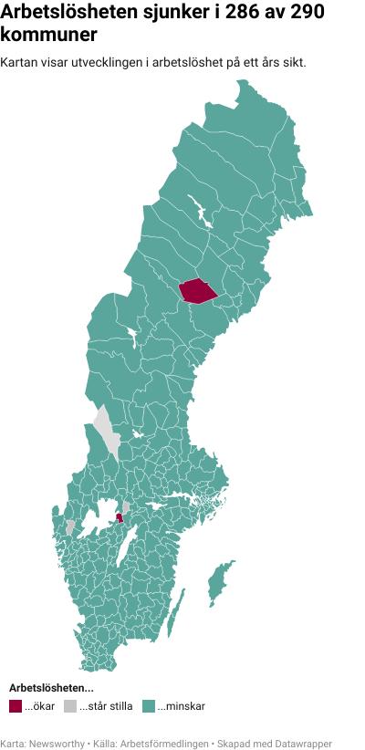 Karta: Arbetslöshet kommun för kommun